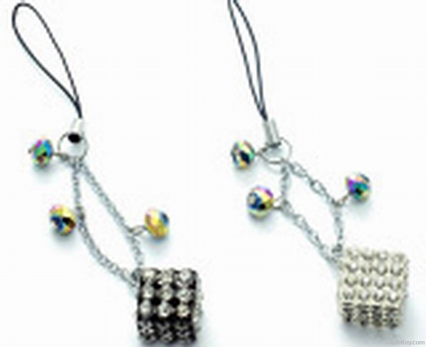 crystal cell phone chain