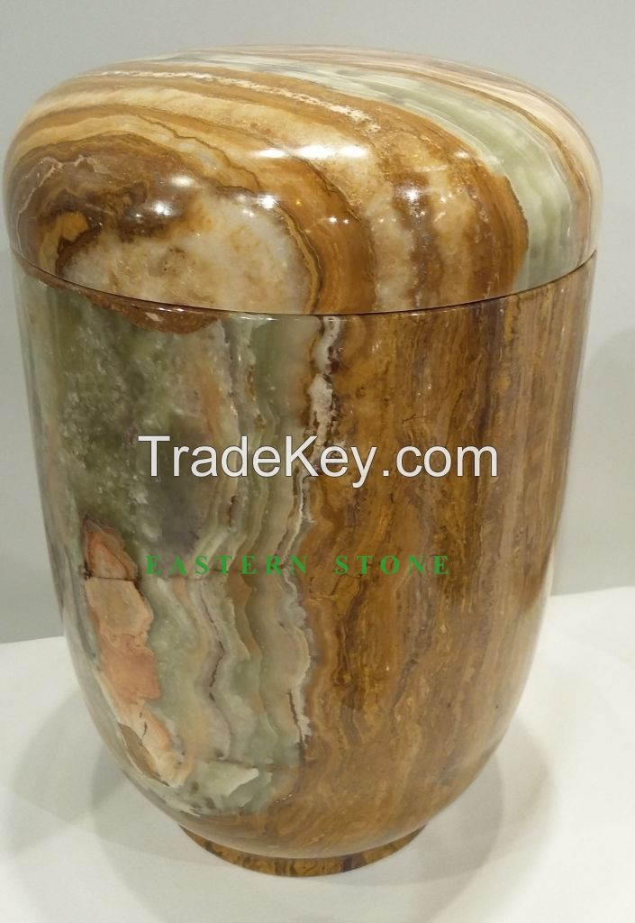 ONYX, MARBLE, FOSSIL STONE ASH URN, CREMATION URN, FUNERAL URN