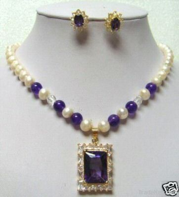 Wholesale - fresh water pearl amethyst pendant necklace earring set