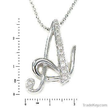 18K white gold diamond letter pendant