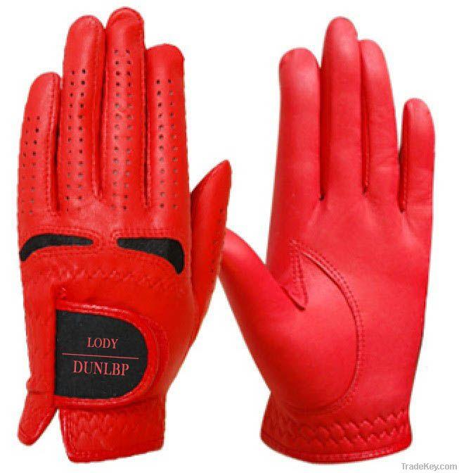 Red cabretta Golf glove