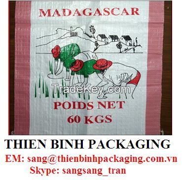 PP woven bag for agriculture, feed, sugar, rice, salt..