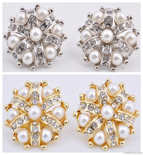 2012 new pearl beads rhinestone silver gold plating clip earrings