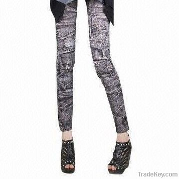 Denim Look Elastic Seamless Leggings