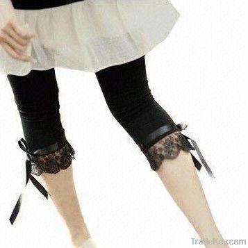 Ladies' lace bow leggings