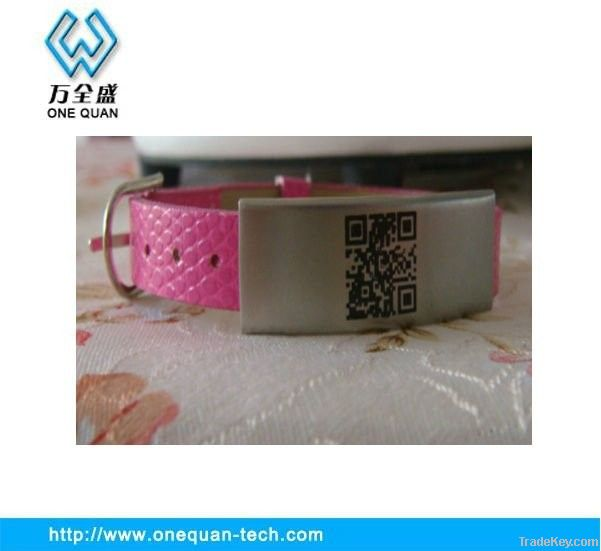 2013 New arrival leather ID bracelet QR Code bracelet