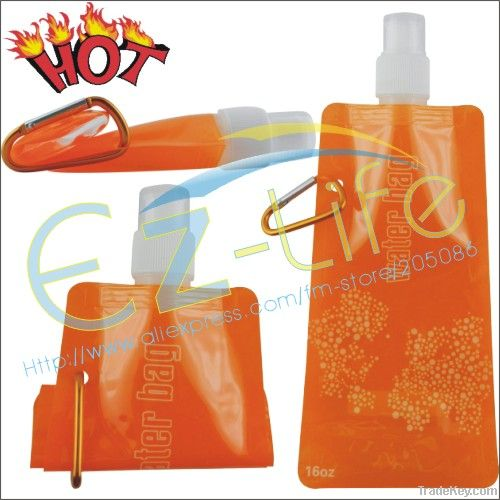 Portable folding water bottle for outdoor /sport water bag with hook