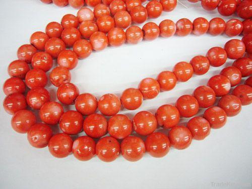 Coral strands with semi precious stone