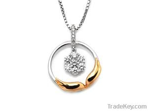 18K Rose and White Gold Wing of Angel Diamond Pendant
