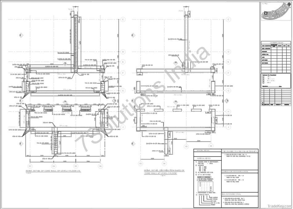 Rebar Detailing Services, Concrete Steel Rebar Detailing Drawings