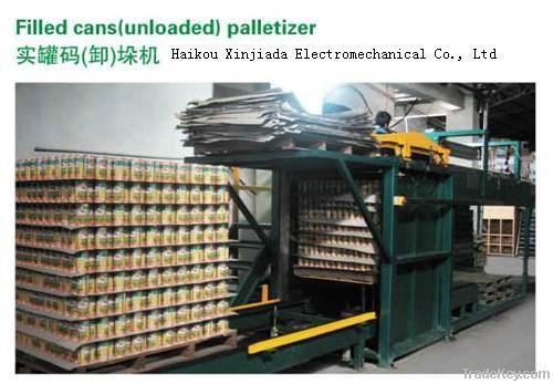 Palletizer and depalletizer for food/beverage filled cans
