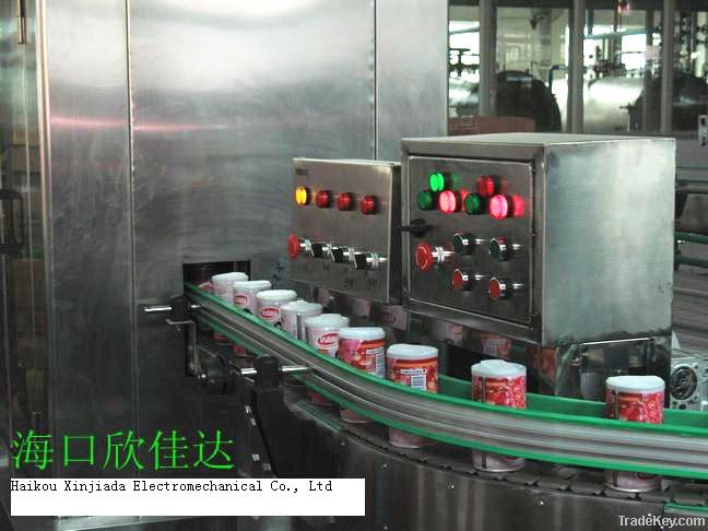 Automatic plastic cover/lids capping machinery on tin /paper cans
