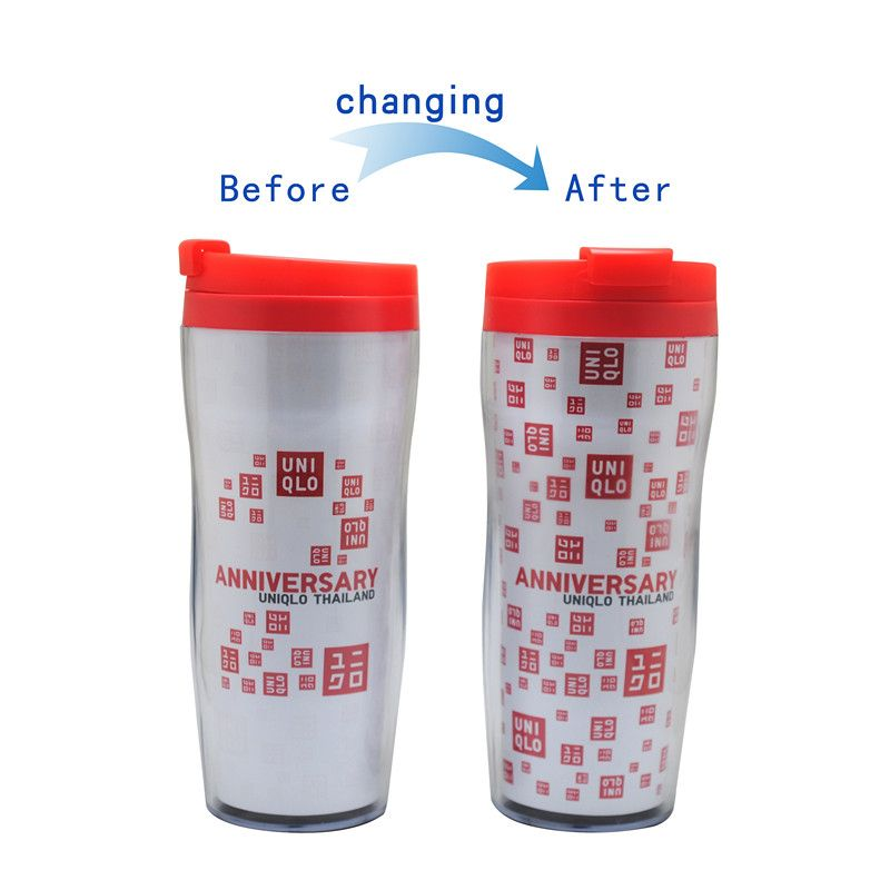 insulated color changing double wall plastic mug paper insert