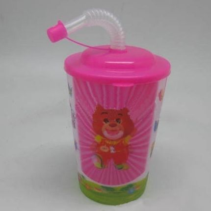 wholesale change color plastic cup with straw and lid