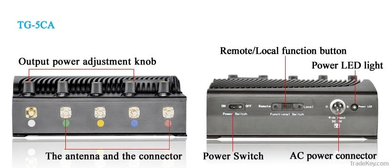 Adjustable output power  signal Jammer TG-5CA (Newest designed Jammer