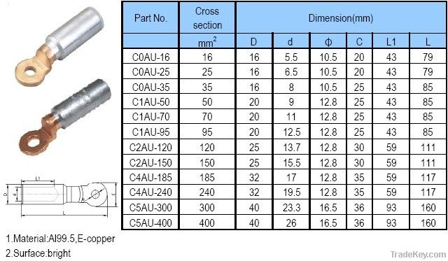 Copper/Aluminium/Bimetallic Cable Lugs /Bimetallic Joint/Bi