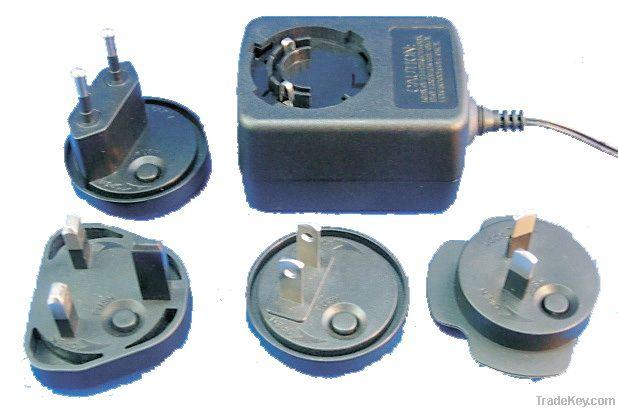 24W series power supplies with Multi-AC plug, eu, usa, uk and au