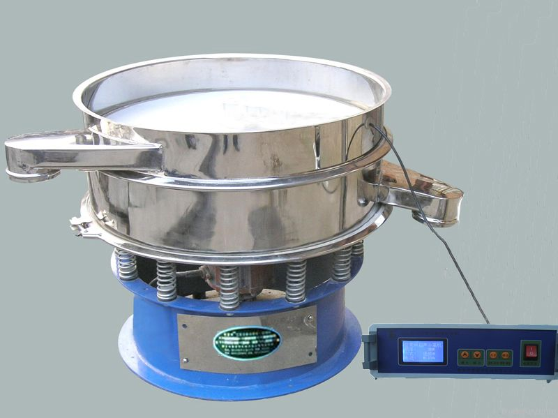 Ultrasonic vibrating screen for superfine particles