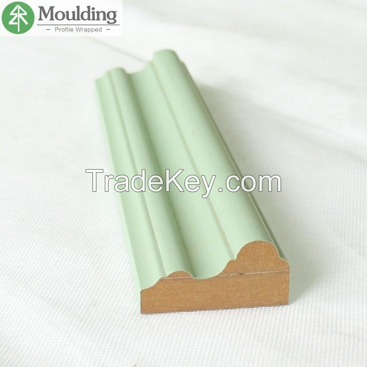 Waterproof PVC Wrapped MDF Mouldings for Skirting Board