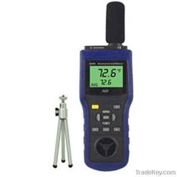 infrared thermometer, anemometer, dB meter, lux meter