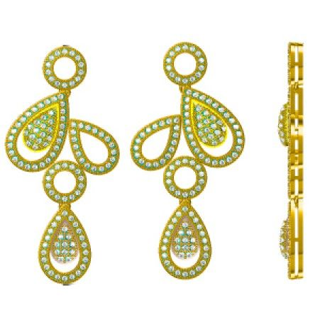 High Quality Platinum/Gold Plated Micro Pave Setting Jewelry Silver Earrings