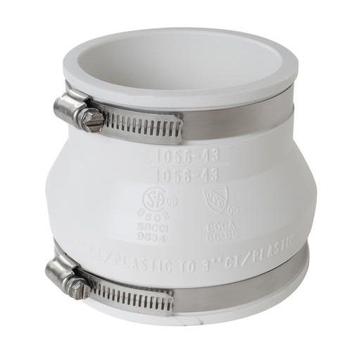 Flexible Coupling for Clay, Cast Iron, Plastic, Ductile Iron, Concrete, Copper, Steel, Lead Pipe Connection