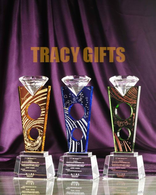 Custom Designed, HIGH GRADE K9 Crystal trophy, with gift box packing