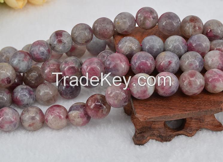 Factory price nature gemstone polish red tourmaline beads