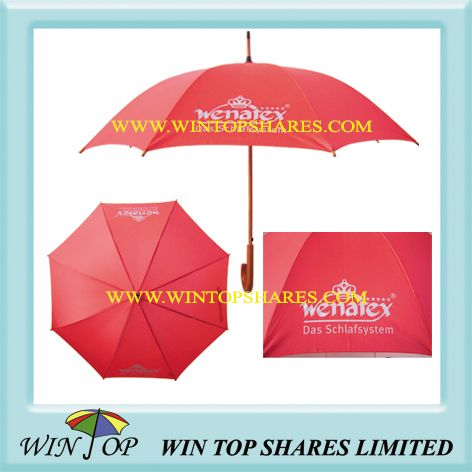 Auto Straight Wooden Advertising Umbrella