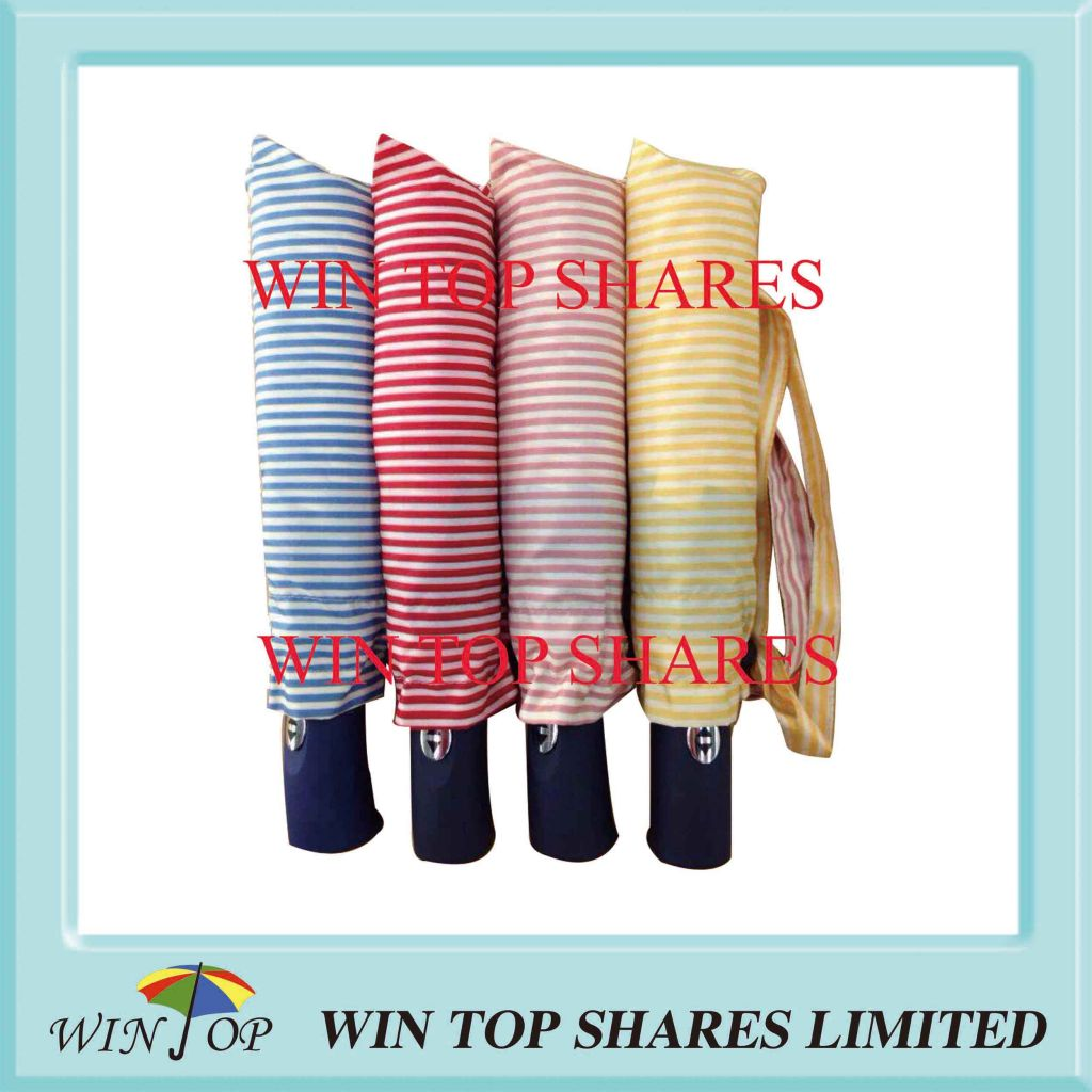 21 inch stripe type auto 3 folding modern umbrella