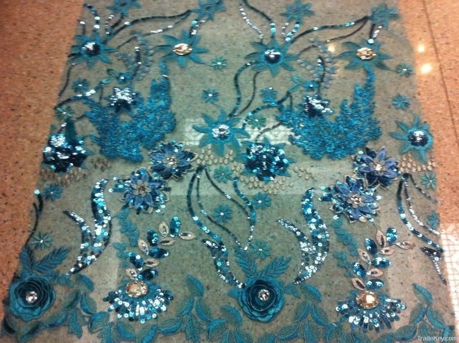 Tulle embroidery fabric for evenning dress and ball gowns