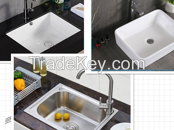 Bathroom basin and Kitchen stainless sinks