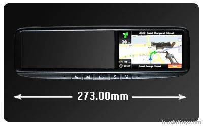 4.3 inch rearview mirror gps navigation with bluetooth