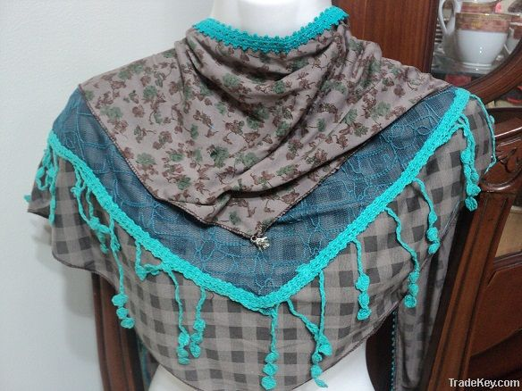 embroidered 100 % cotton scarves