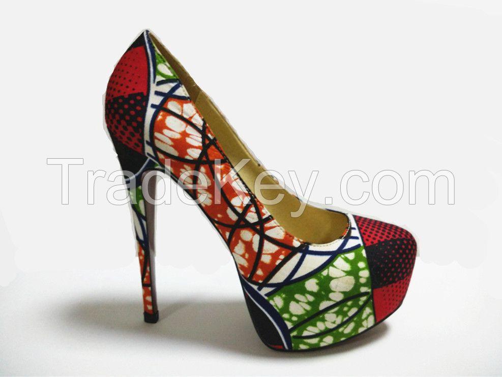 African Wax Fabric Women High heel Dress Shoes