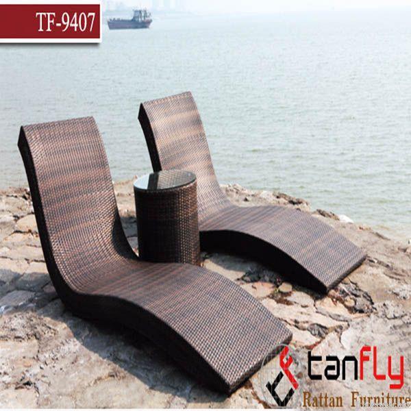 rattan wicker sun pool beach lounge chair