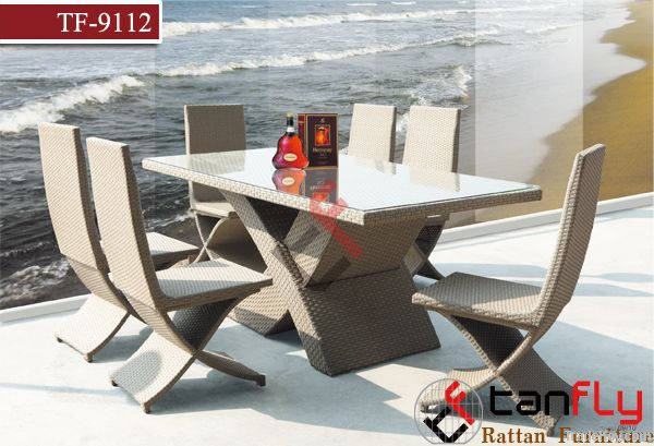 modern wicker outdoor leisure dining table set