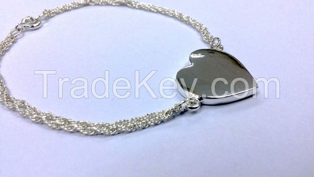 Heart charm Bracelet Engravable