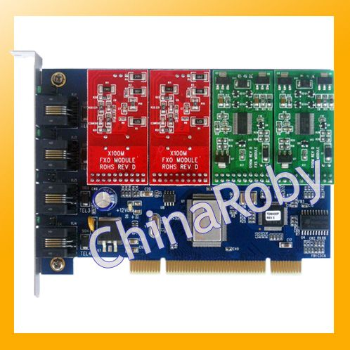TDM400P with 2 FXS +2 FXO ports , supports digium driver dahdi, Asterisk Trixbox Elastix FreePBX