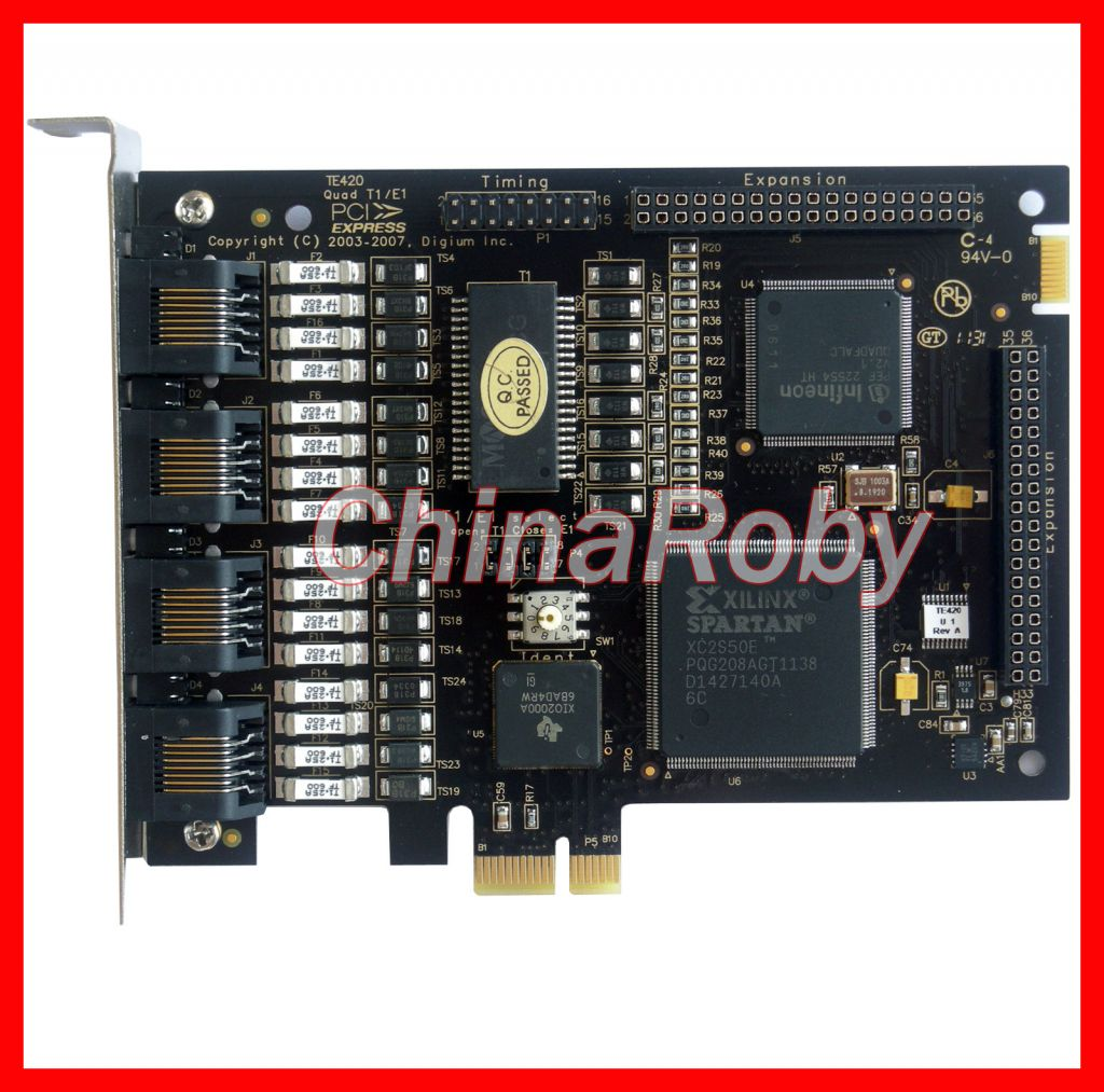 Digium TE420 PCI-E card with 4 E1/T1 ports,ISDN PRI card PCI Express quad span digital telephony card