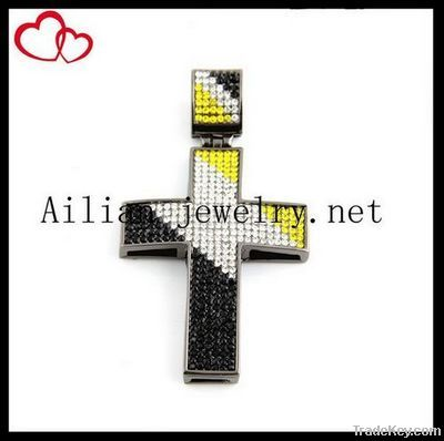 Fashion alloy hiphop cross pendant with rhinestone