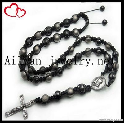 disco ball beads rosary, shamballa beads rosary with pendant