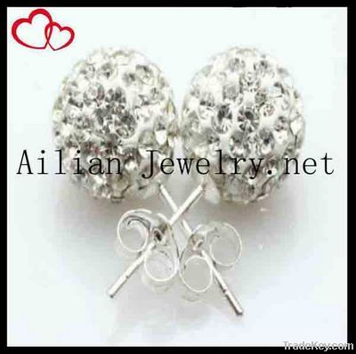 2012 fashion shamballa beads earring, disco ball earring