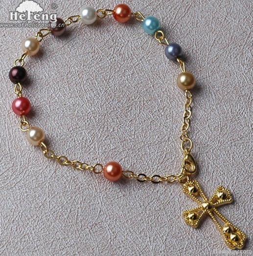 rosary bracelet, Multi Color Imitated Glass Pearl Bead Rosary Bracelet