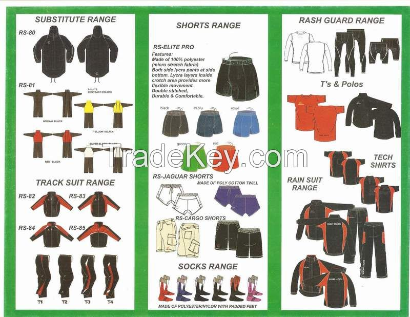 rugby shorts, sub suits, sub jackets, hoodies and many more