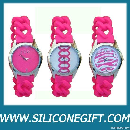 silicone twist chain link strap watches
