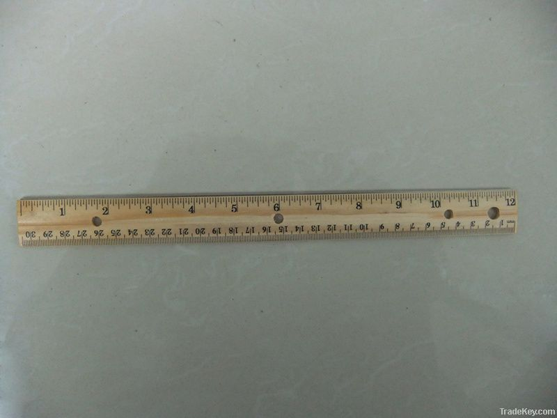 staight wood ruler with metal edge