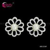 Popular Style Clip Earrings Silver Flower Crystal Earrings Jewelry for Women