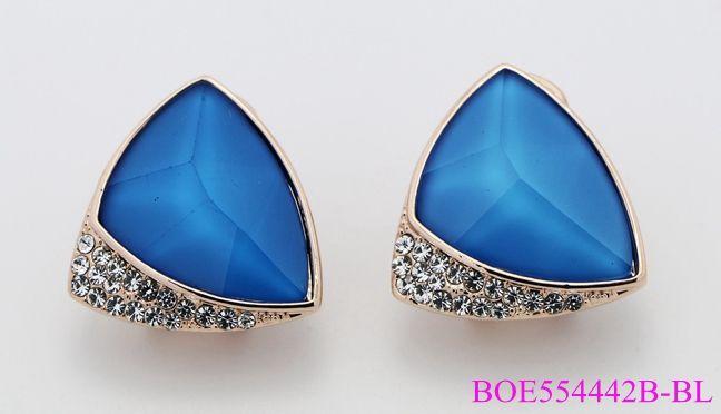 Botique Fashion Shiny Sapphire Geometric Clip on Earrings