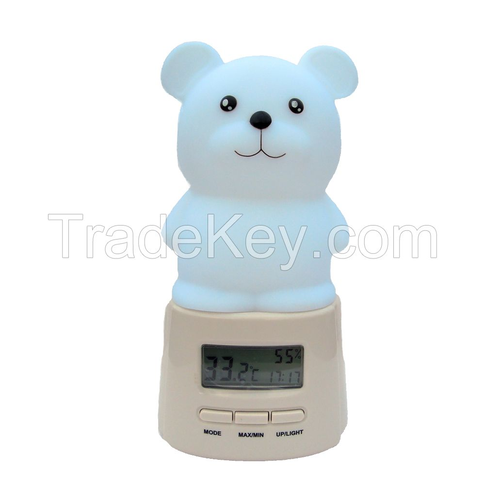LED night light with temperature and hygrometer and light 7 colors